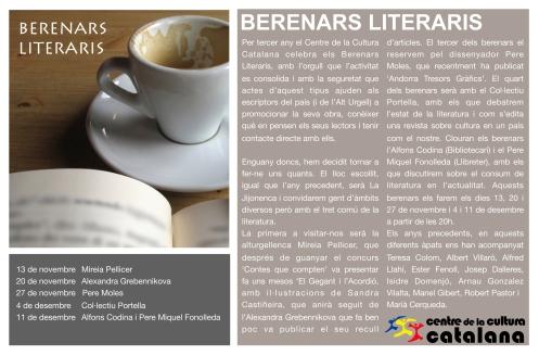 El Centre de la Cultura Catalana estrena els 3rs Berenars Literaris